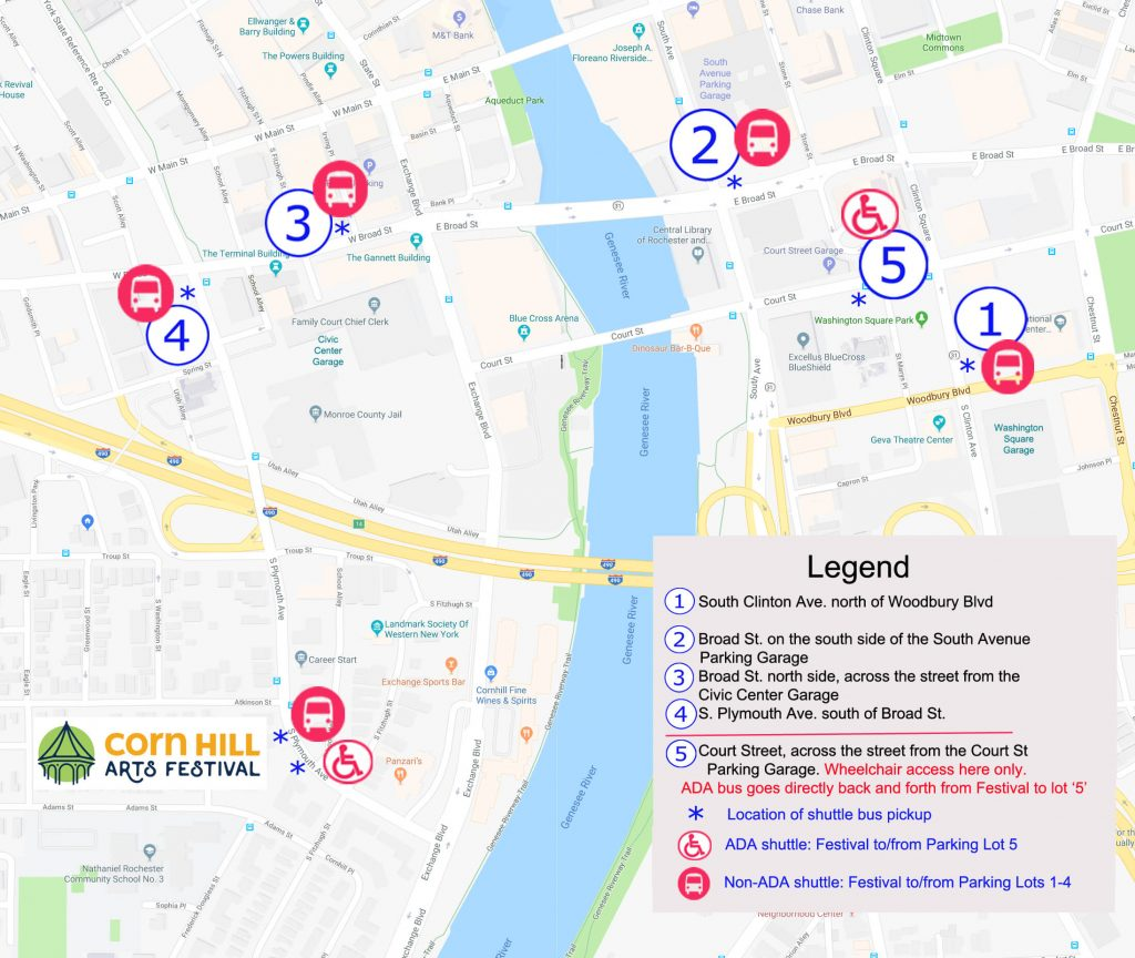 Corn Hill Arts Festival Shuttle Bus Map 2018